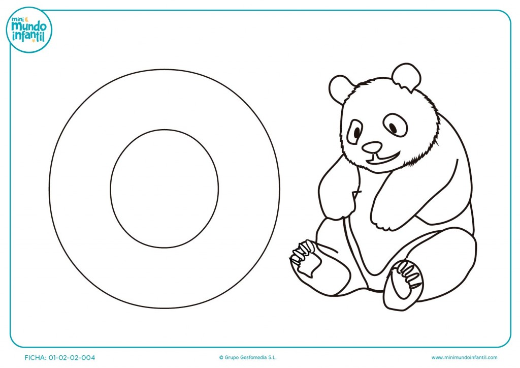 Plantilla para colorear la letra O y el dibujo del oso para infantil