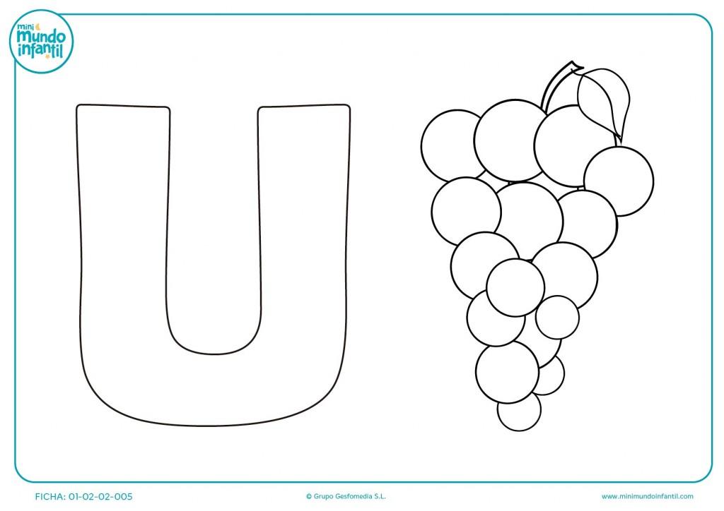 Actividad de aprendizaje de la vocal U asociándola a la palabra uva