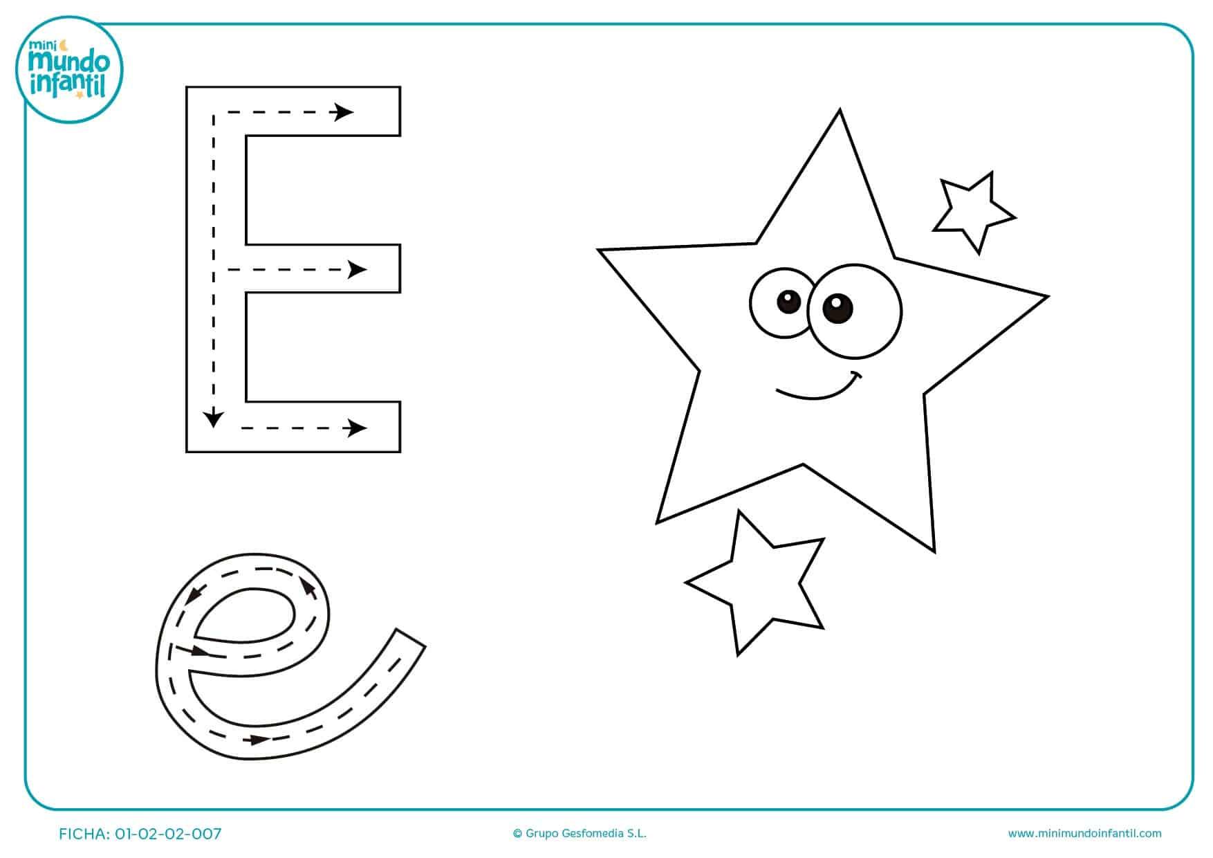 Ejercicio con flechas de la letra E para colorear por prescolares