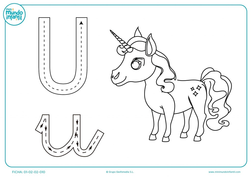 Sigue las flechas para escribir la vocal U y colorea el unicornio
