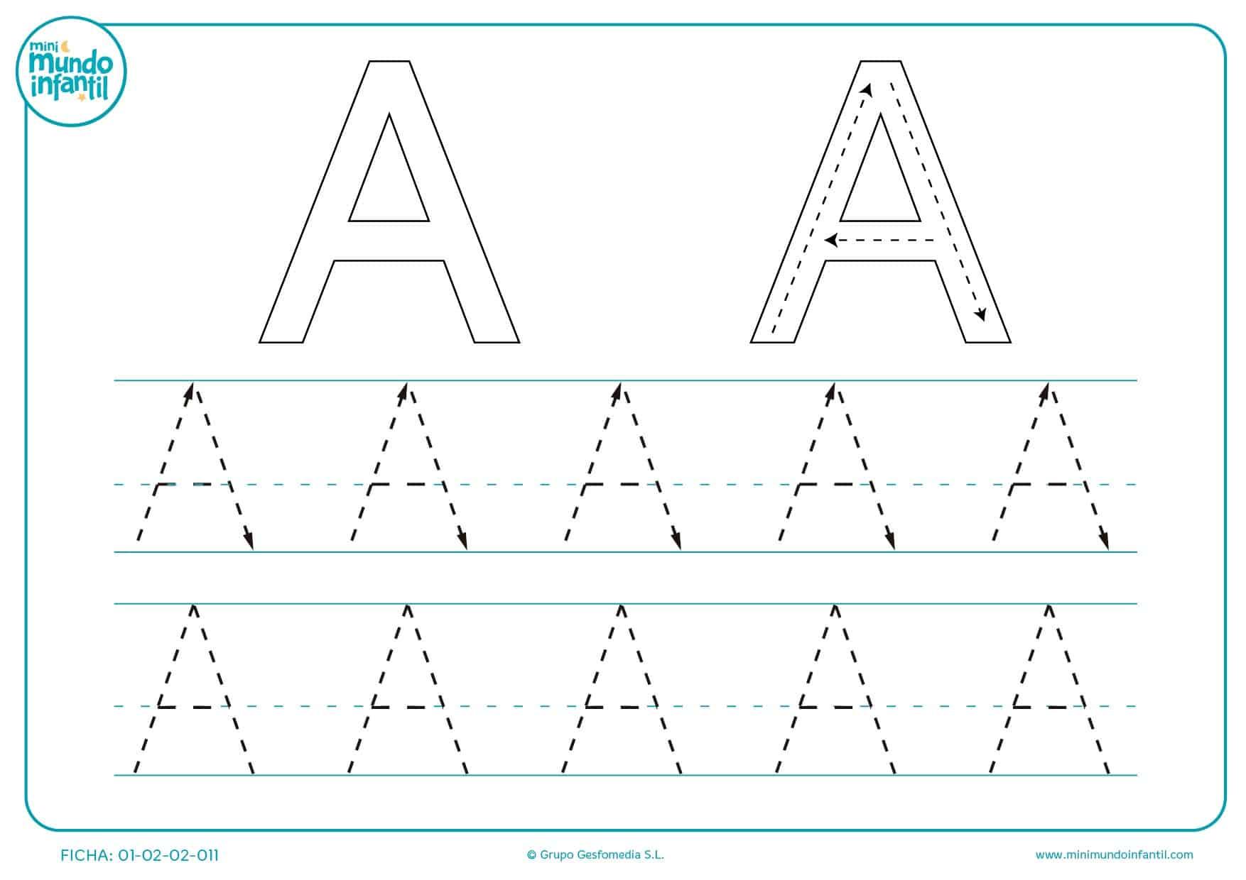 Une las líneas siguiendo la dirección de las flechas para formar la A