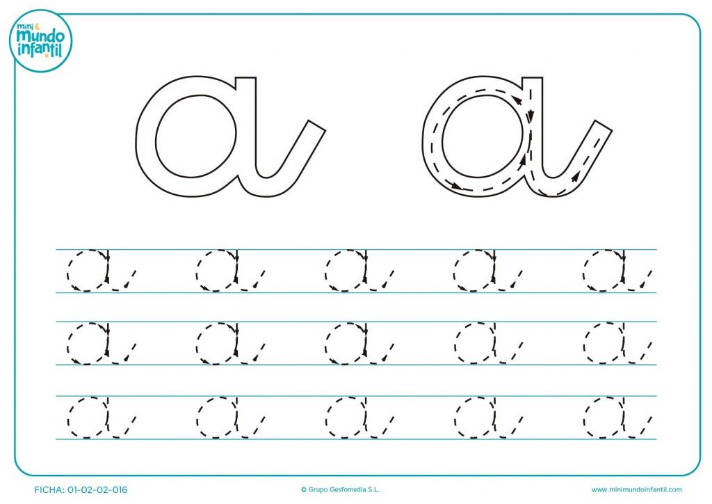 Continuar la línea de puntos para aprender a trazar la letra a