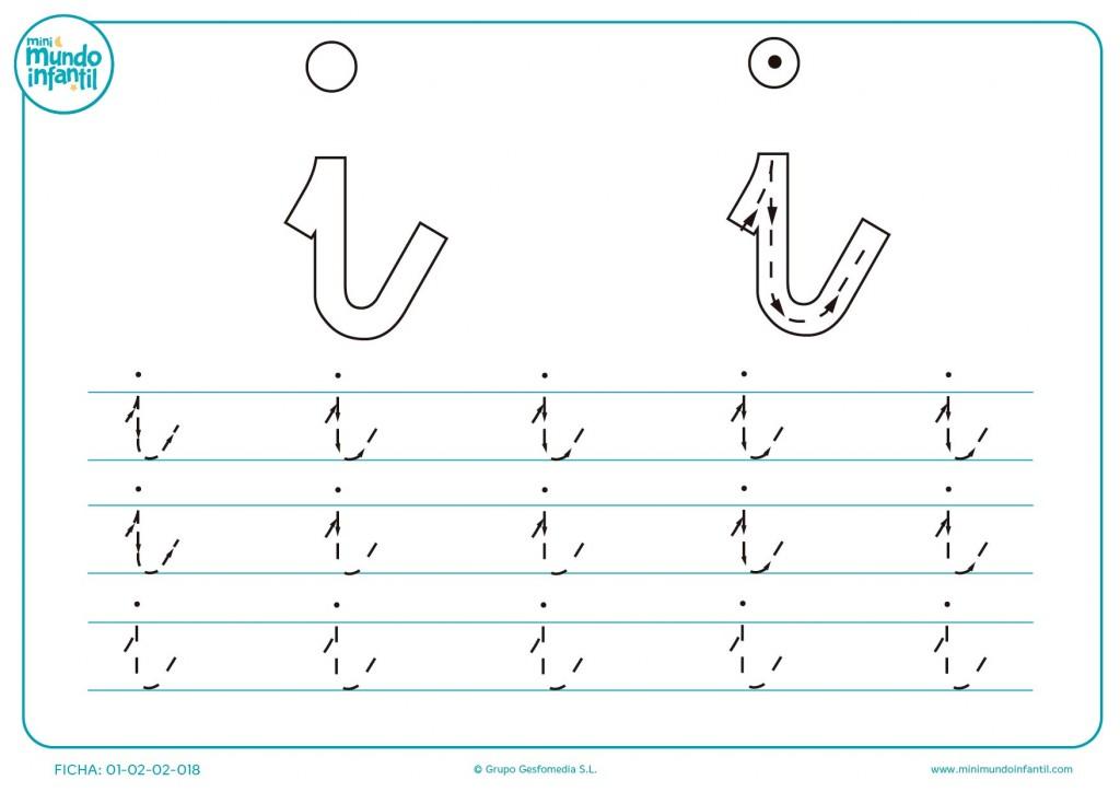 Repasar la línea de puntos para aprender a trazar la letra i