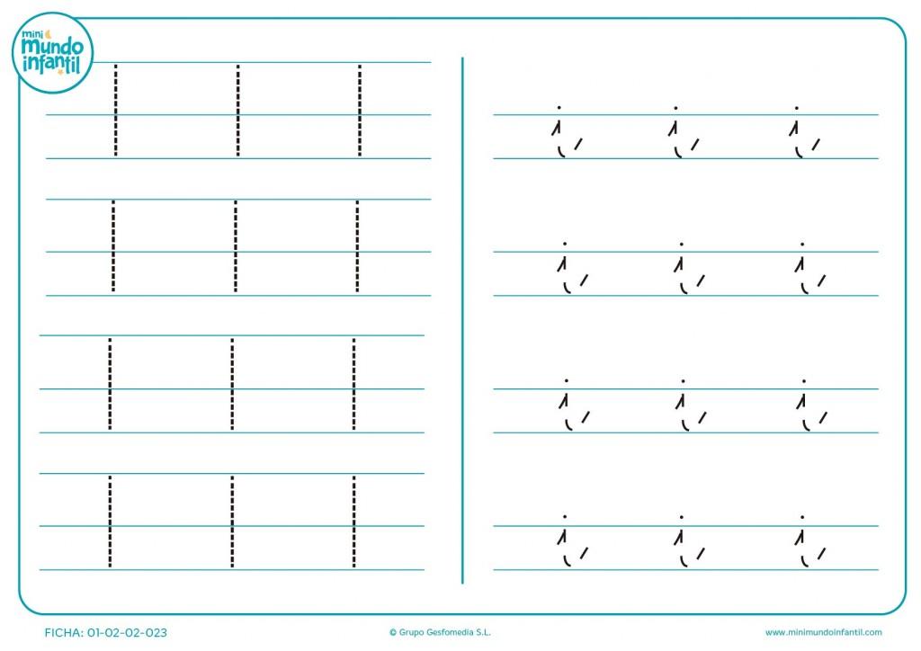 Actividad que enseña a escribir la letra I en mayúsculas y minúsculas