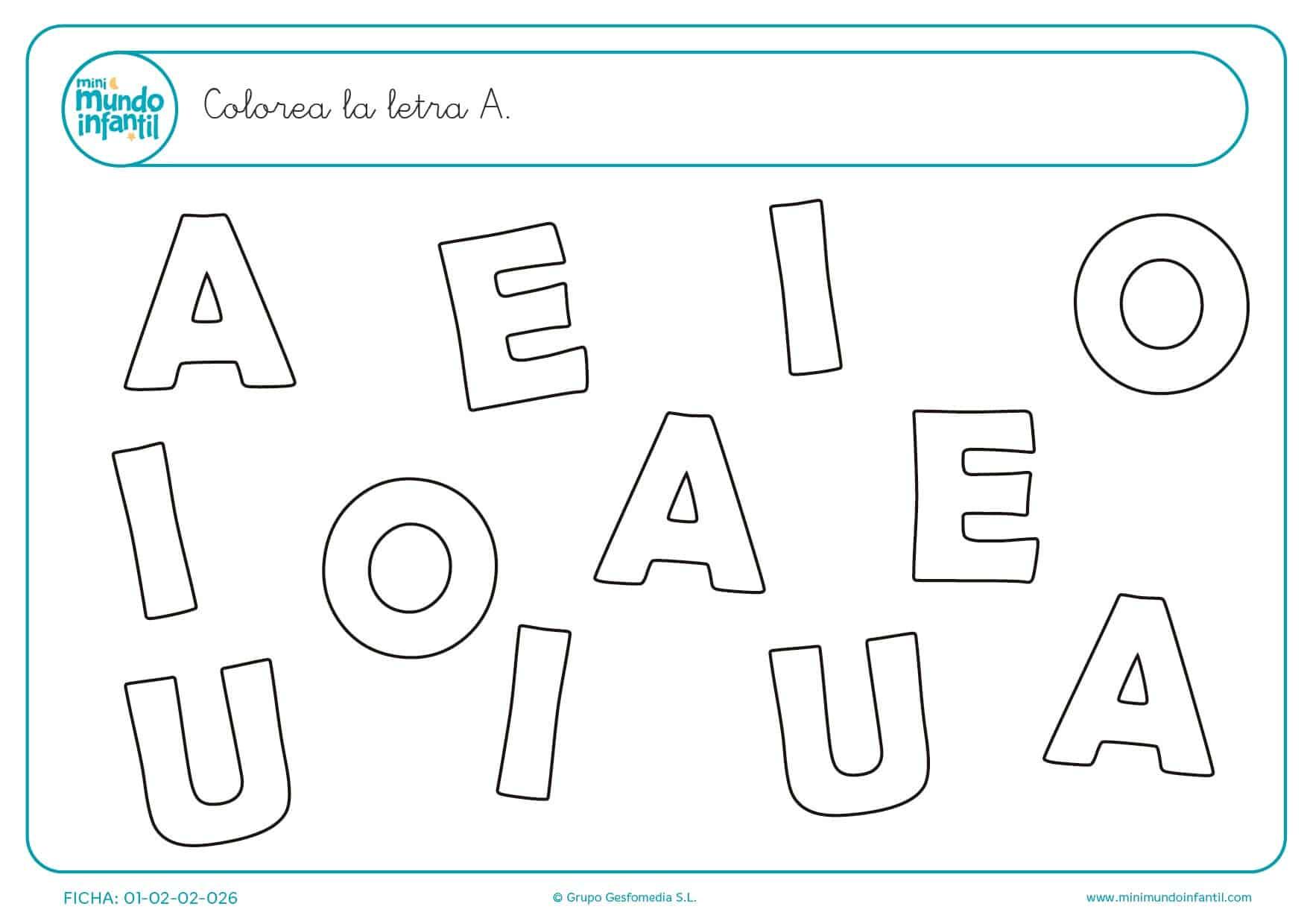 Diferenciar las letras A mayúsculas y colorearlas