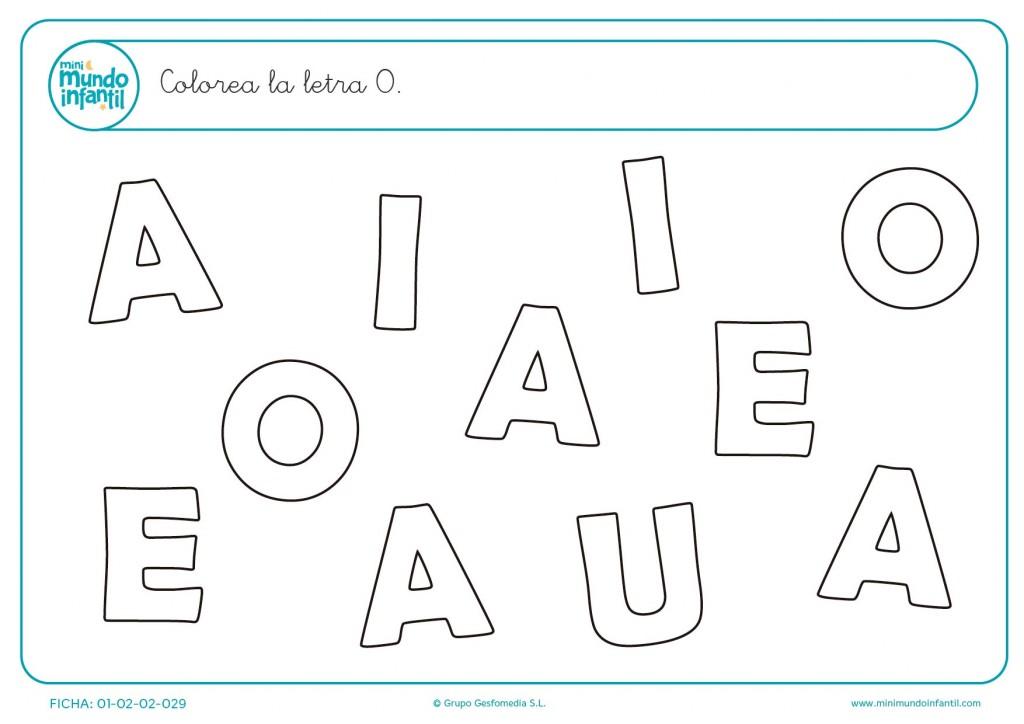 Actividad para distinguir la letra O mayúscula y después colorearla
