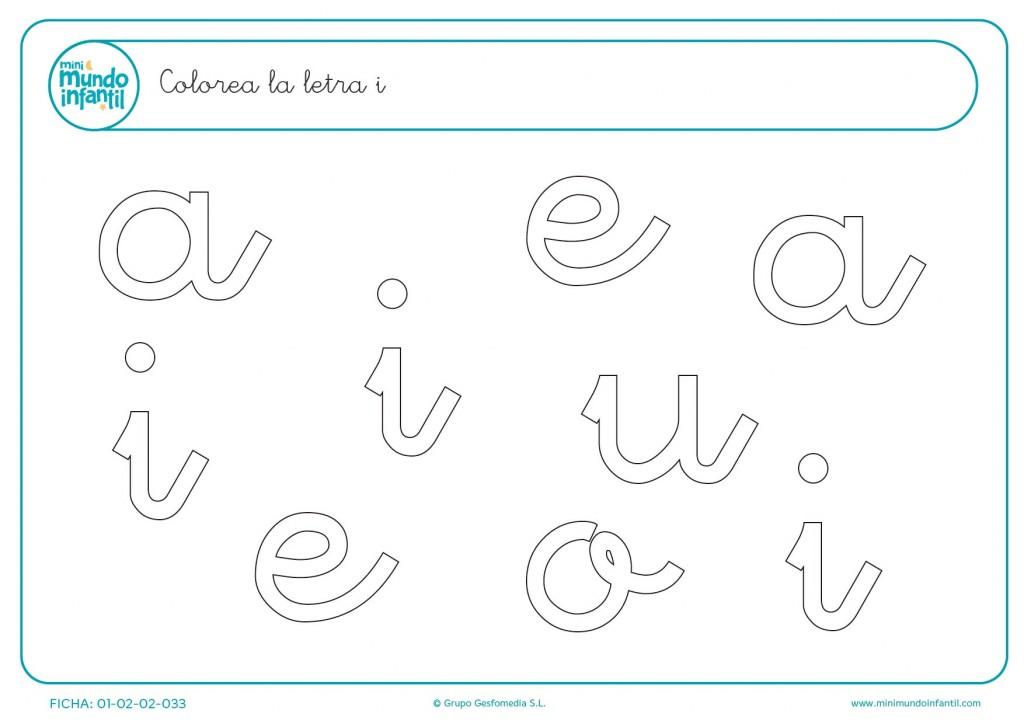 Distinguir las letras i minúsculas y colorearlas