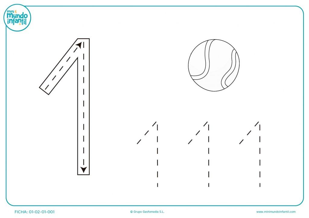 Haz grafomotricidad del número 1 y de la pelota para niños de infantil