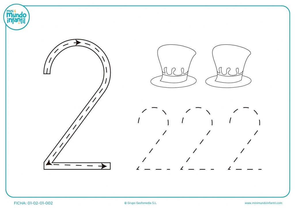 Practica grafo con el número 2 y con sombreros para pequeños