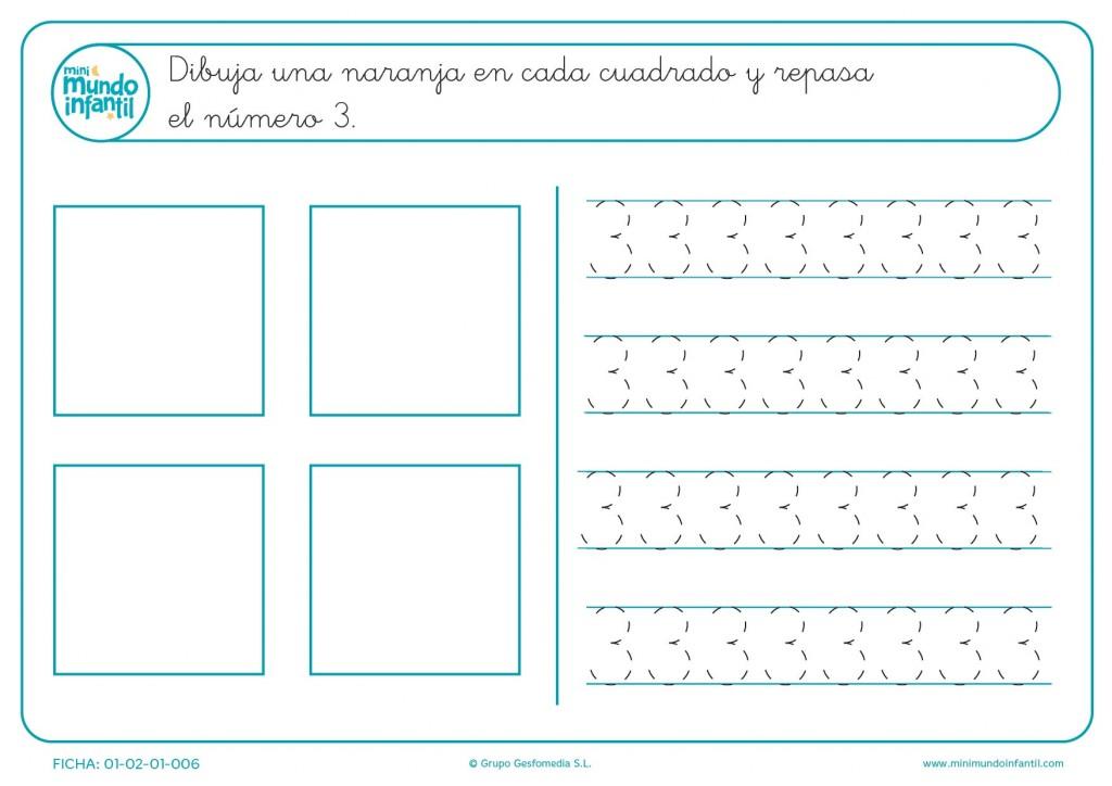Transcribe el número 3 en todos los cuadrados para aprenderlo