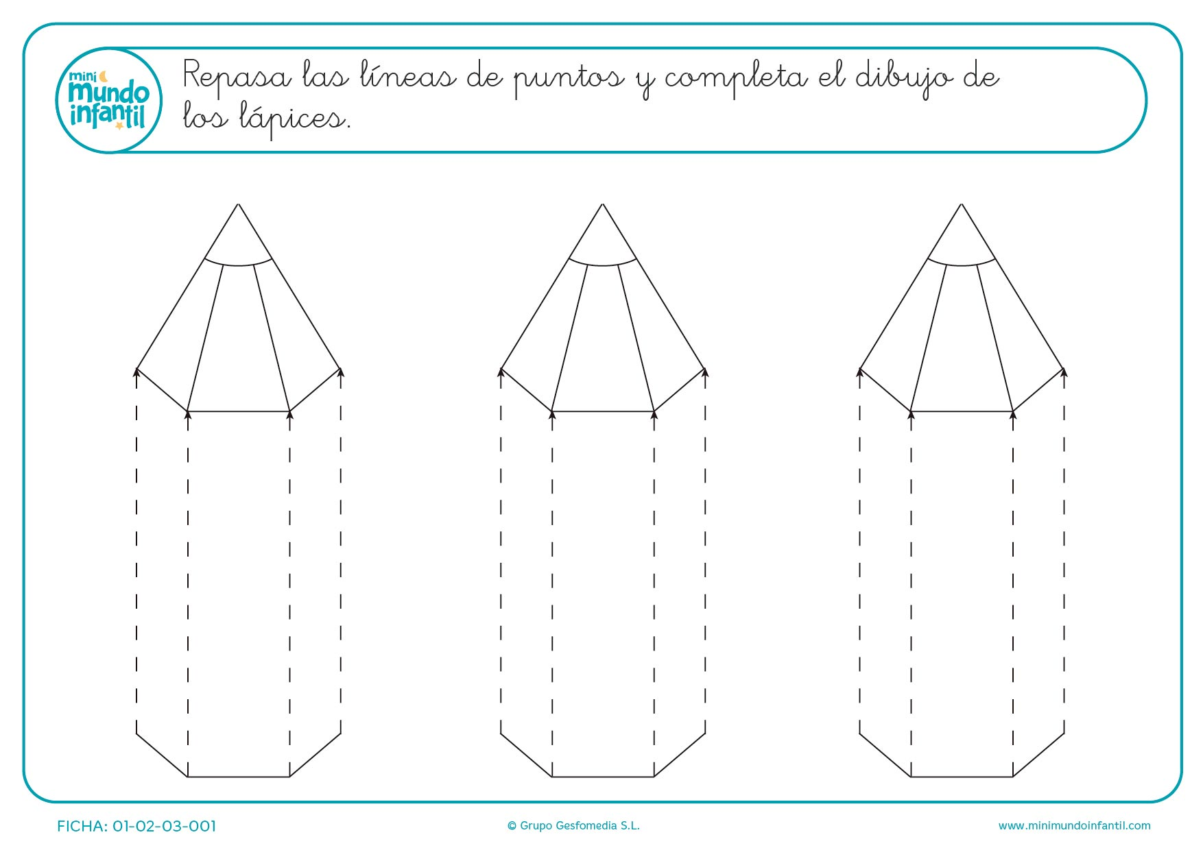 Completa los dibujos de los lápices repasando las líneas para infantil