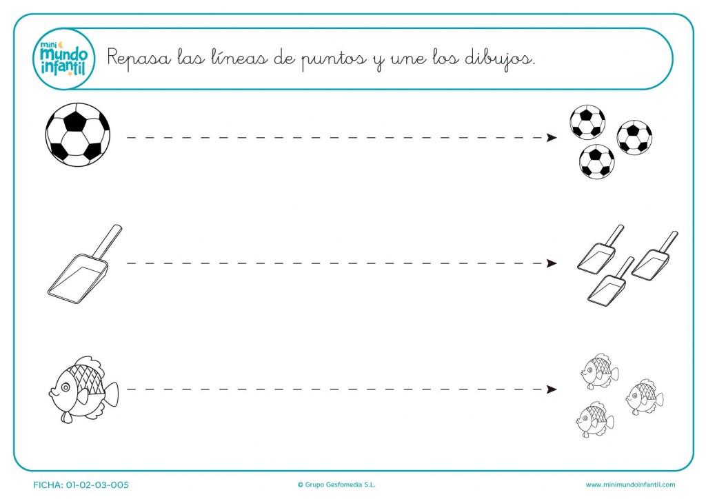 Sigue los puntos para completar el camino de líneas horizontales