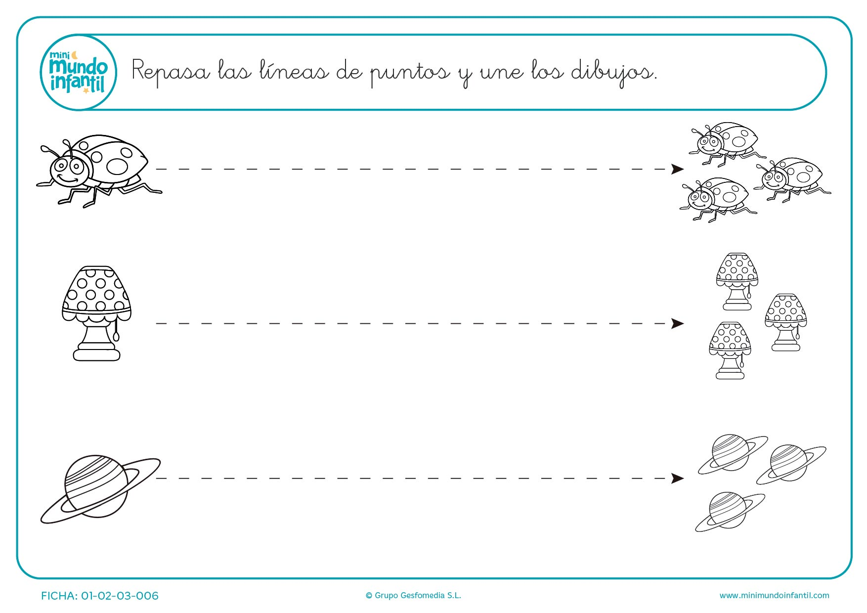 Continúa los puntos para formar líneas horizontales para infantil