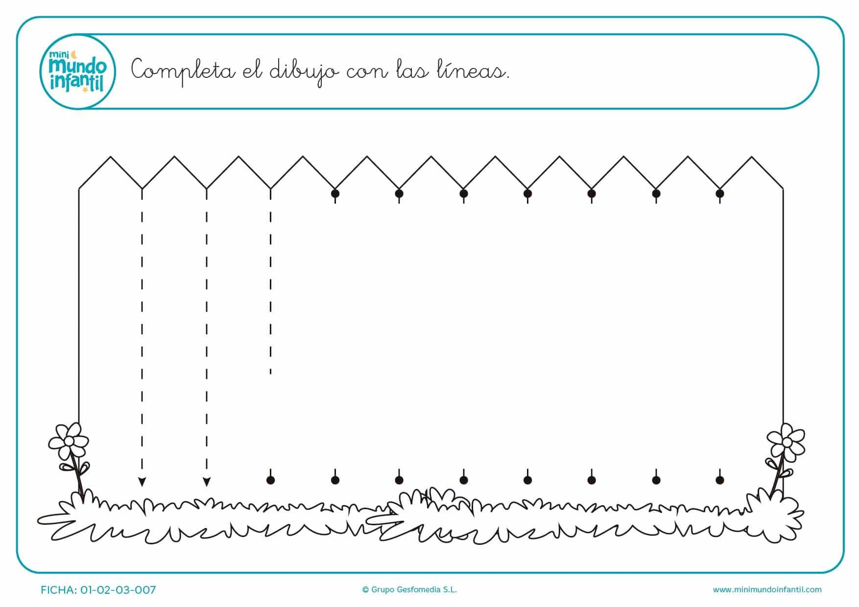 Ejercita trazos verticales practicando en el dibujo de la valla