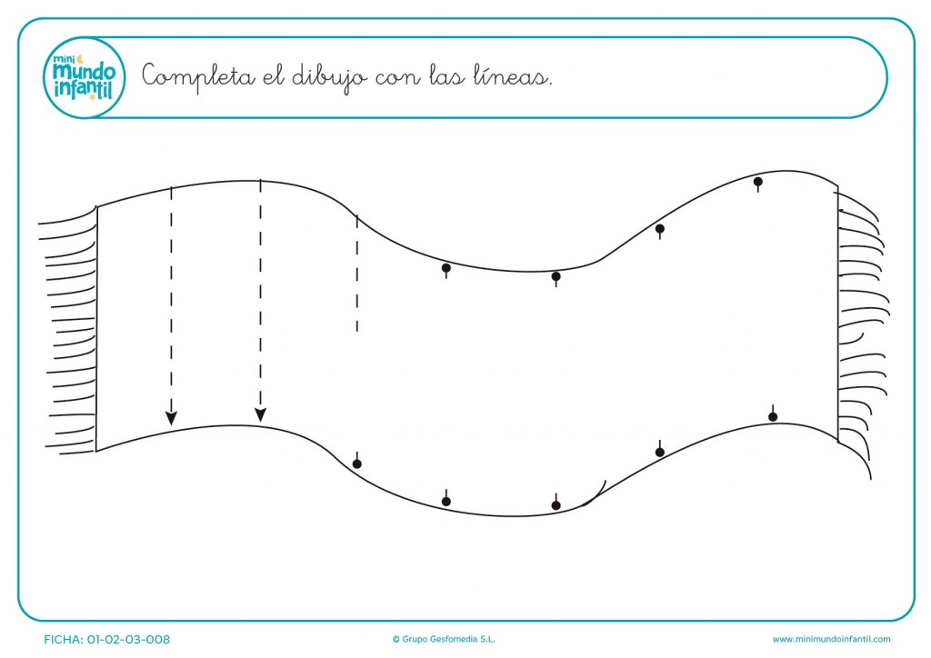 Practica líneas verticales siguiendo las líneas de la alfombra