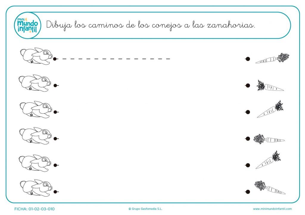 Practica las líneas horizontales uniendo los caminos para infantil