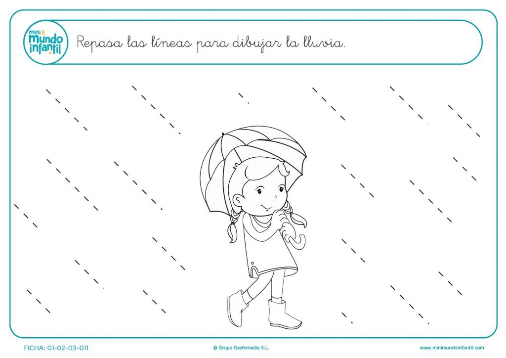 Repasa las líneas oblicuas y dibuja la lluvia para niños de infantil