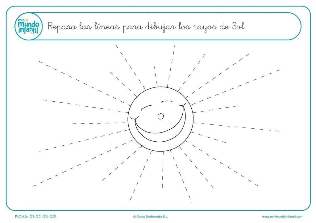 Practicar las líneas de puntos para formar el dibujo del sol