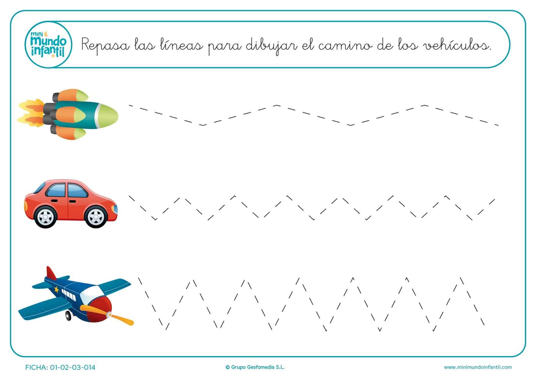 Estudiar las líneas inclinadas para formar el camino de los medios de transporte