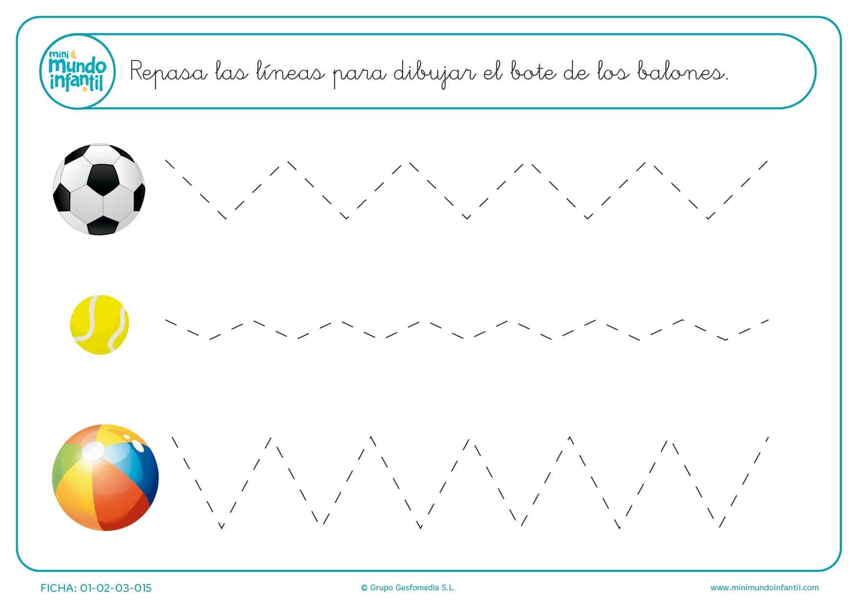 Completa el bote de los balones con líneas oblicuas para infantil