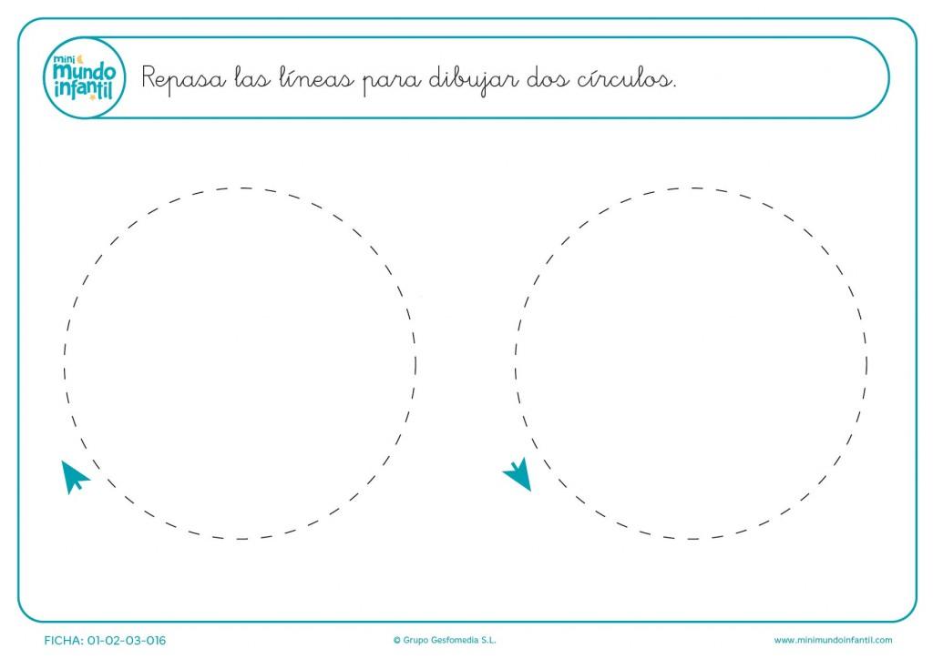 Repasa las líneas y aprende a formar círculos para educación infantil