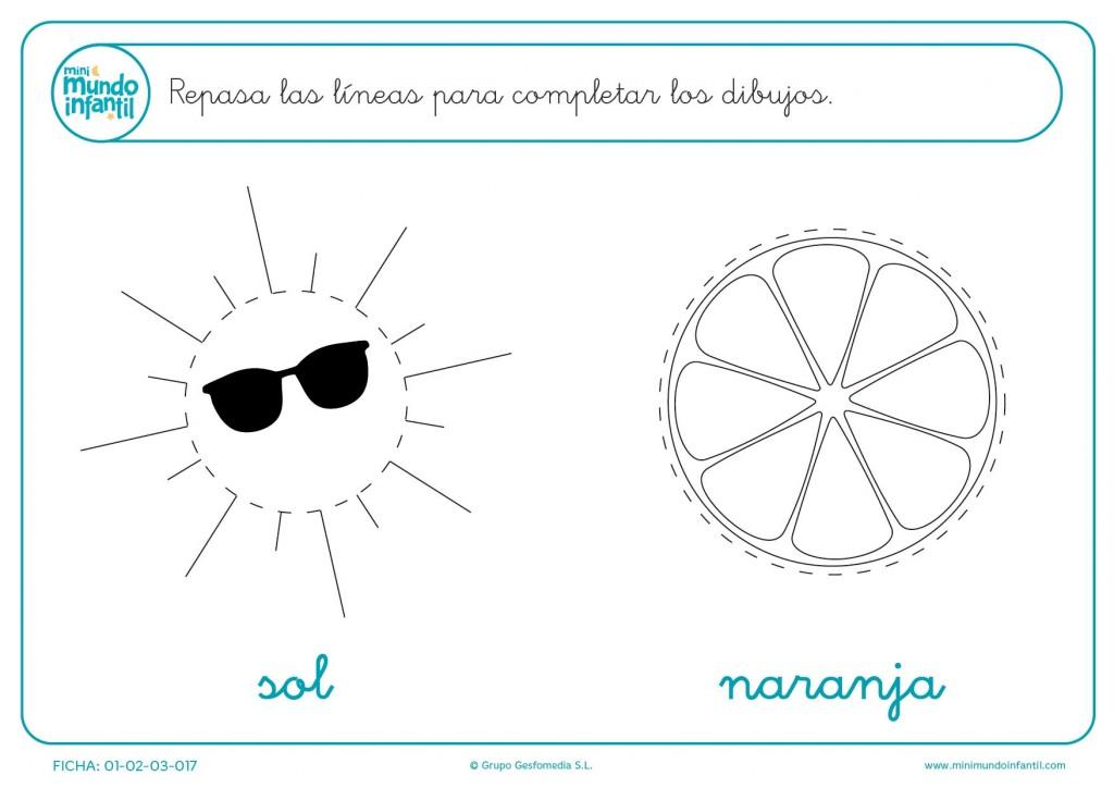 Completa círculos repasando el trazo del sol y la naranja en infantil