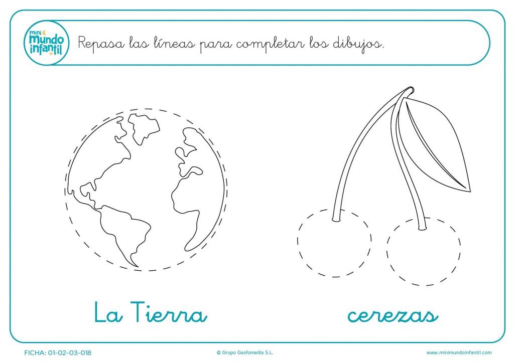 Repasa las líneas de puntos y dibuja la Tierra y cerezas para infantil