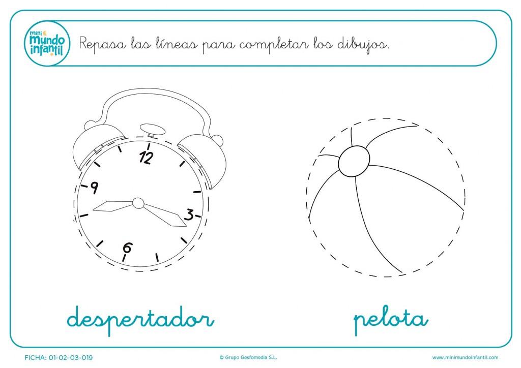 Termina los dibujos de grafomotricidad del despertador y la pelota
