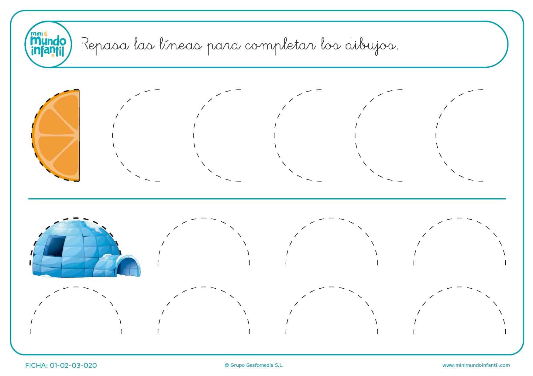 Sigue las líneas de puntos y completa la naranja y el iglú en infantil