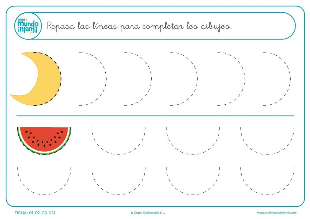 Completa los medios círculos de la luna y la sandía para infantil