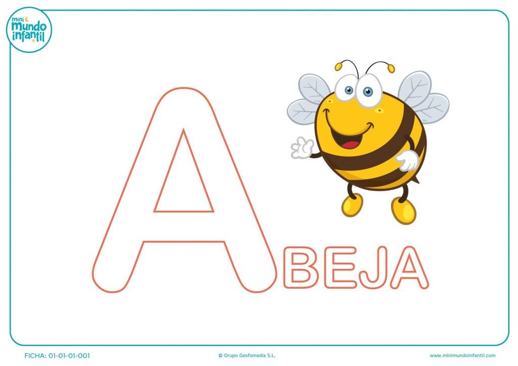 Colorea la inicial A de abeja para educación infantil