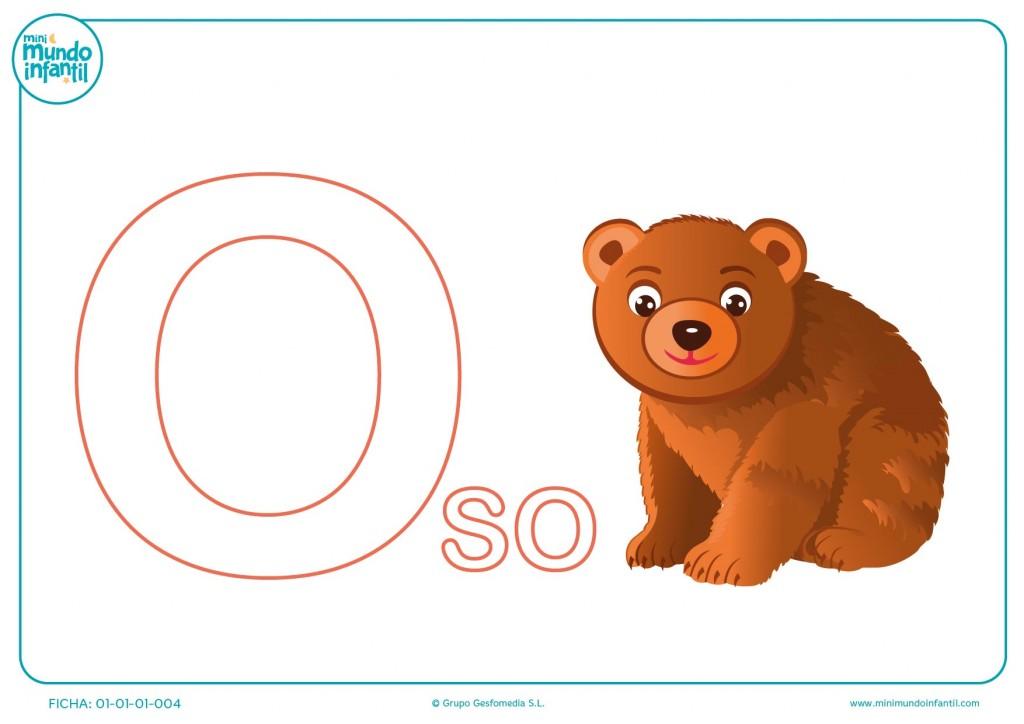 Completa la palabra oso pintando la inicial O para niños de infantil