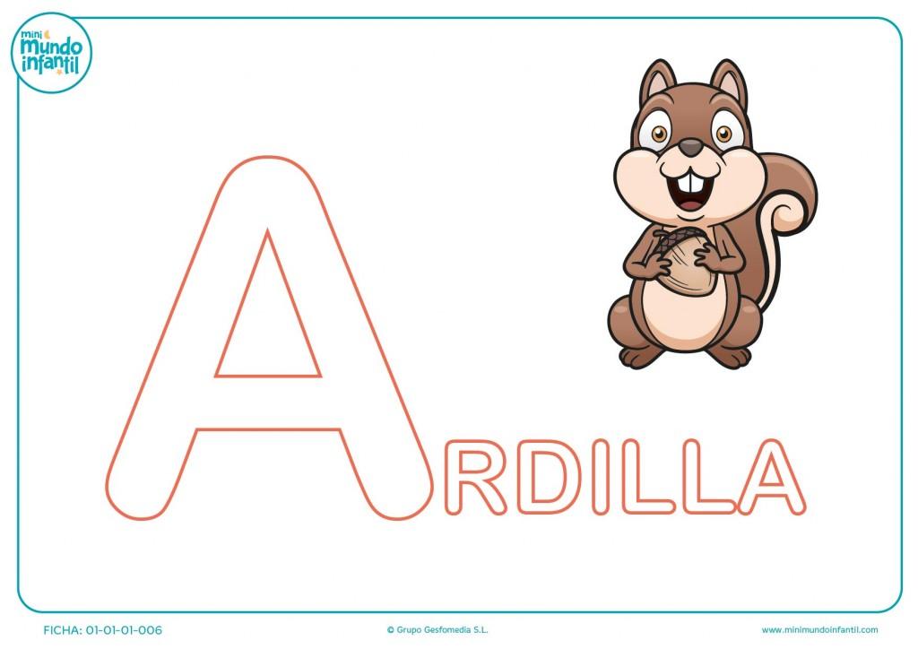 Rellena con color la letra A inicial de ardilla para infantil