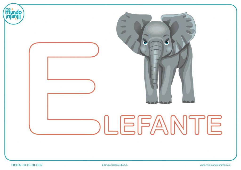 Letra E de elefante para rellenar