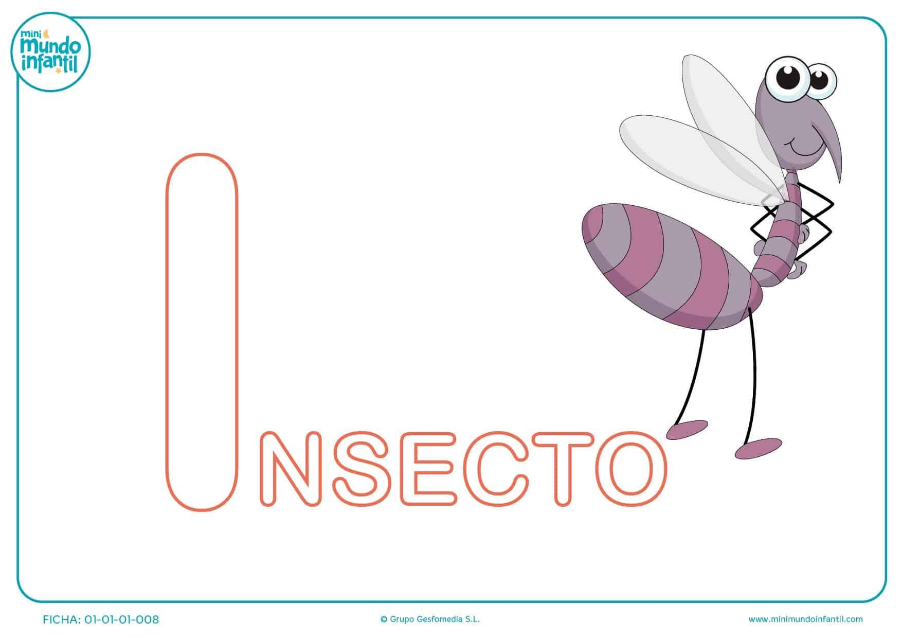 Pinta la letra I de insecto para completar la palabra para infantil