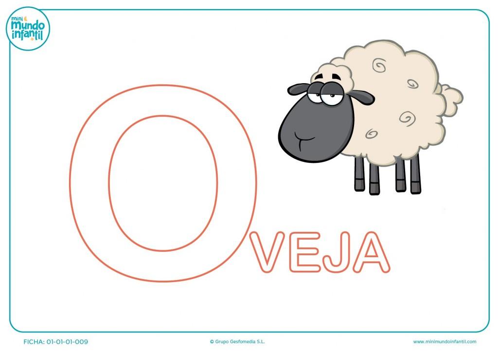 Letra O de oveja para pintar