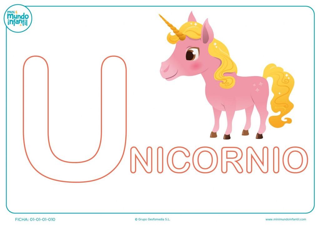 Colorea la letra U de unicornio para niños de infantil