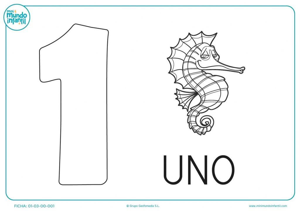 Numerito 1 para pintar y también colorear un caballito de mar