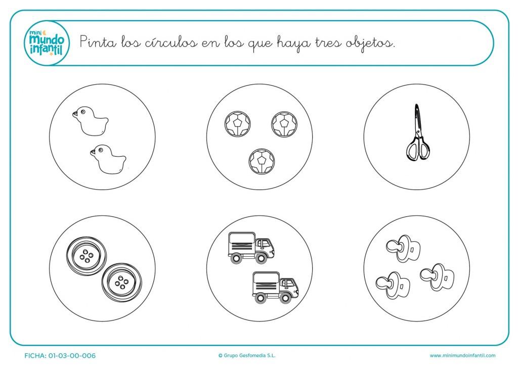 Rellenar con color los dibujos de los círculos con 3 objetos