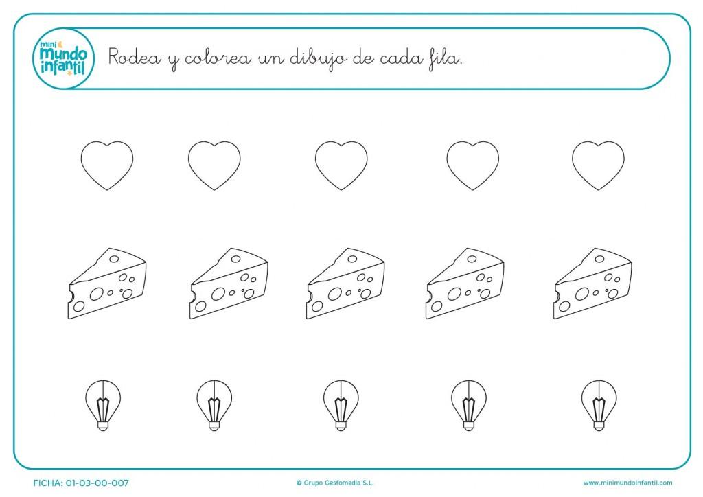 Rodea uno de entre los dibujitos de corazones quesos o bombillas
