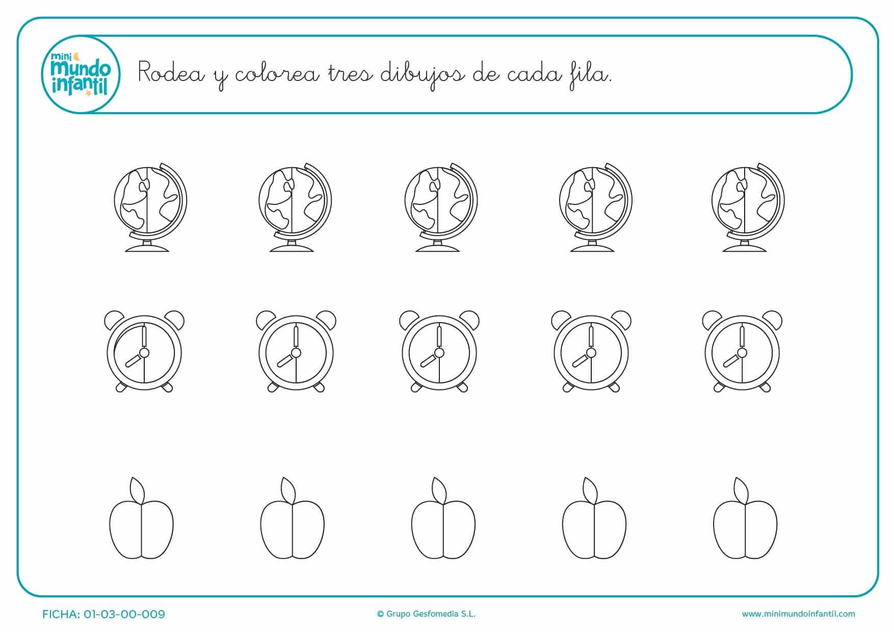 O media manzana o Tres dibujos pintar el reloj o la bola del mundo