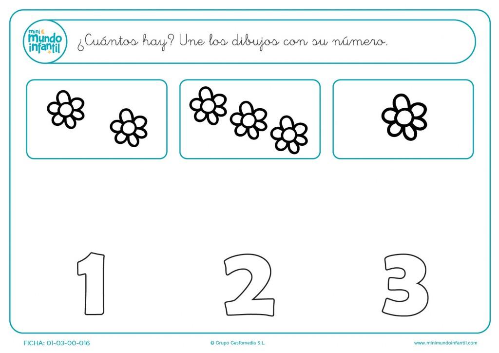 Unir las flores con el número que representan