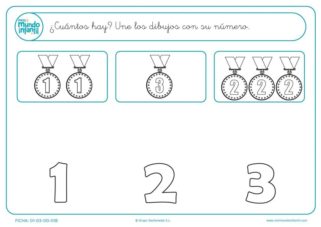 Unir las medallas con sus números