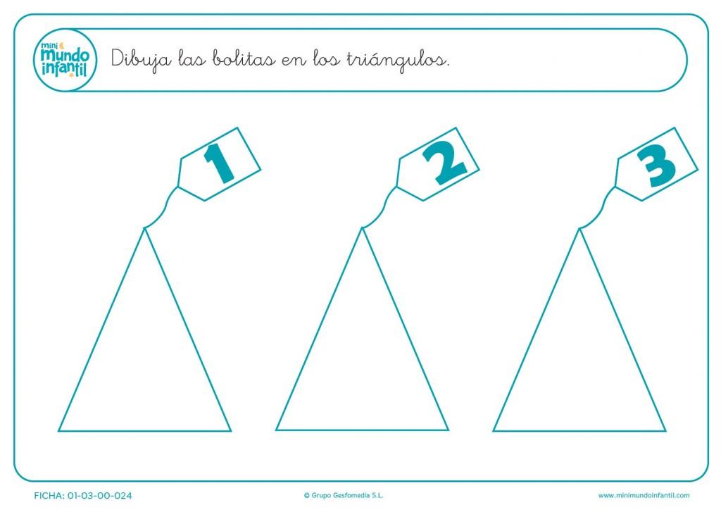 Pintar las bolas que se marcan en los triángulos