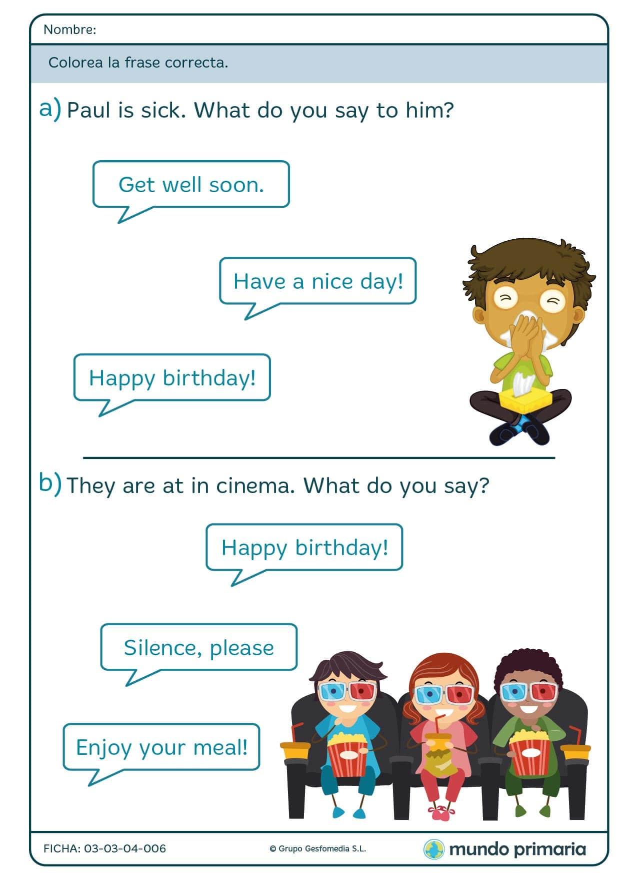 Rellena con color el diálogo que cuadre con el texto en inglés para 1º