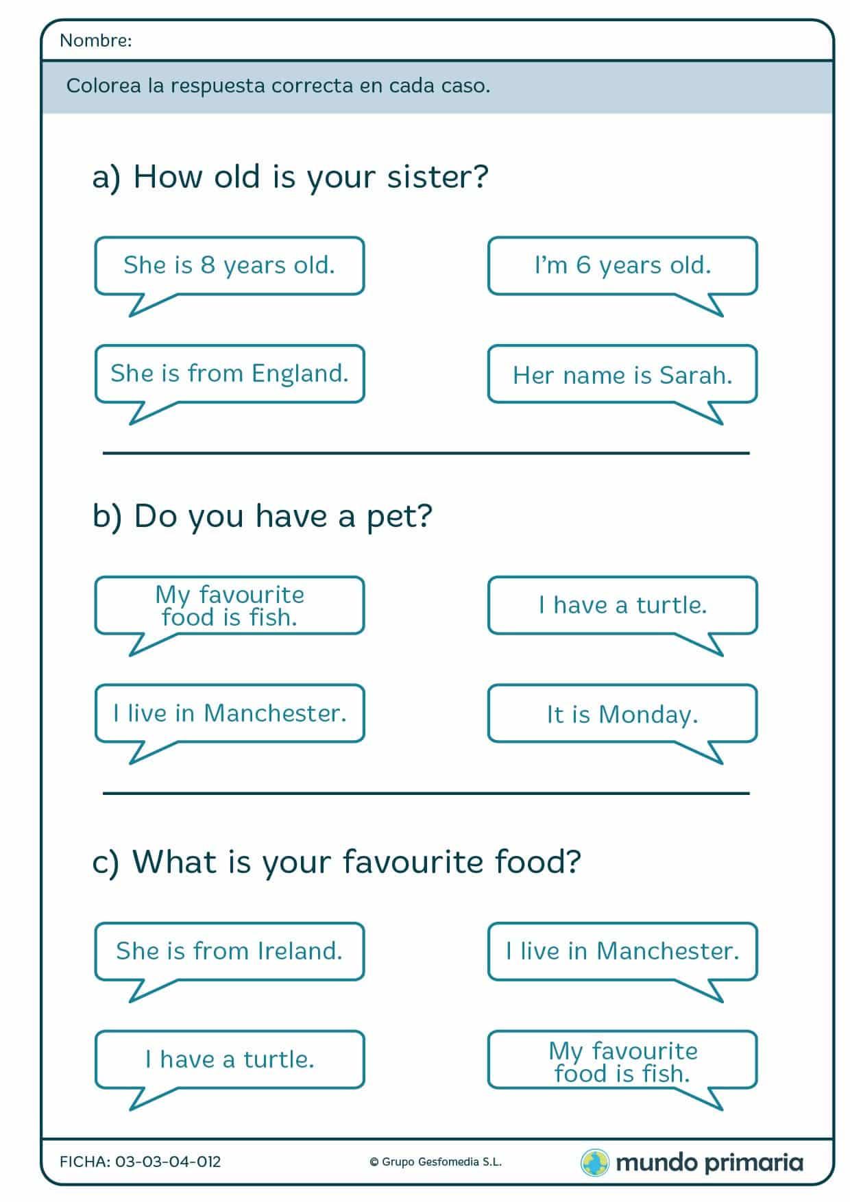 Responde cuantos loros y el nombre de la tortuga de la niña en inglés