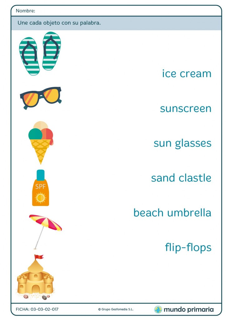 Ficha de vocabulario de playa en ingés para niños de 1º de Primaria
