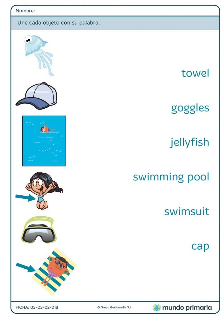 Ficha de inglés sobre vocabulario de la playa para niños de Primaria