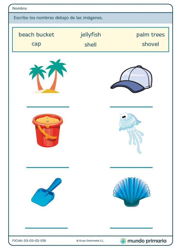 Ficha de repasar vocabulario del verano en inglés