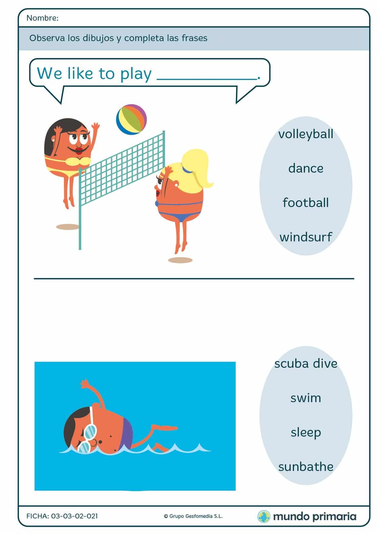 Ficha de completar la frase en inglés para niños de 1º de Primaria